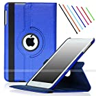 For iPad Air 2 (Released 2014), SAWE - Royal Blue PU Leather Case with 360 Degrees Rotating Swivel Stand Folio Case Smart Cover for New iPad Air 2 2nd Gen with Sleep / Wake Up Feature WiFi & 4G LTE