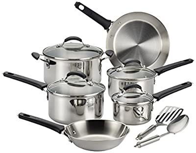 T-fal C813SC Endura Stainless Steel Dishwasher Safe Cookware Set, 12-Piece, Silver