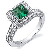 Simulated Emerald Engagement Ring Sterling Silver Rhodium Nickel Finish 0.75 Carats Size 6