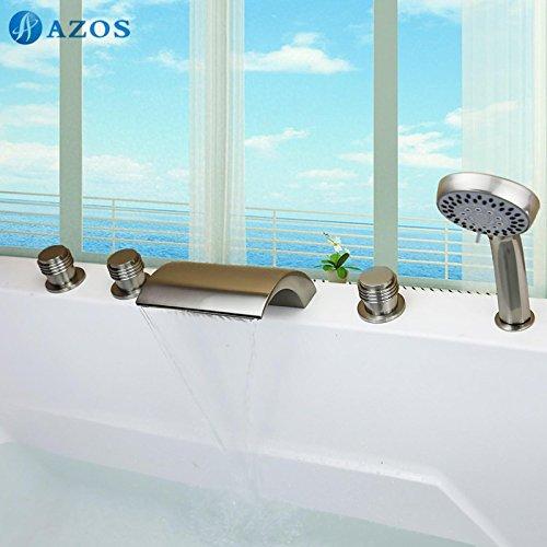 AZOS Bathtub Faucets Nickel Brush Deck Mount Hot Cold Mixer Sprayer Showerheads Handles Diverter Valves YGWJ015 (Brush Nickel Bathtub Faucet compare prices)