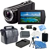 Sony HDR-CX380/B High Definition Handycam Camcorder with 3.0-Inch LCD (Black) with CS Essential Kit. Includes - Replacement Sony NP-FV70 Battery, Rapid Travel Charger, Soft Carrying Case, SD Card Reader, Table Top Tripod, Cleaning Kit, LCD Screen Protectors & CS Microfiber Cleaning Cloth