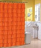 Ruffled Orange Fabric Shower Curtain