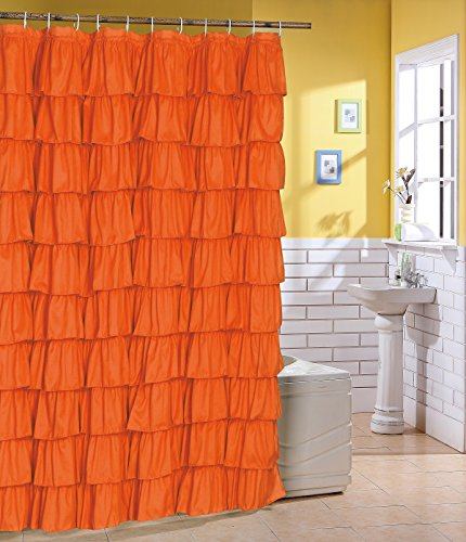 Ruffled Orange Fabric Shower Curtain