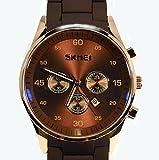 SKMEI アナログ メンズ 高級腕時計 ファッション ウォッチ クオーツ ゴールド 防水 バネ棒外し工具付