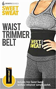 Sweet Sweat Premium Waist Trimmer, 1-size-fits-all. Includes Free Sample of Sweet Sweat Workout Enhancer!