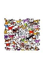 FUNNY BED by MANIFATTURE COTONIERE Panel Decorativo Cani Strani (Blanco/Multicolor)