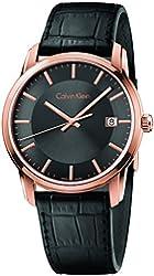 Calvin Klein Infinite Rose Gold / Black Leather Quartz Analog Women's Watch K5S316C3