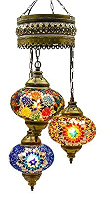 (Choose from 5 Designs) Turkish Moroccan Mosaic Glass Chandelier Lights Hanging Ceiling Tiffany Lamp, Large (B)