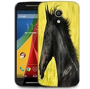 Snoogg Black Horse Designer Protective Phone Back Case Cover For Motorola G 2nd Genration / Moto G 2nd Gen