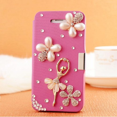 Candymaker Handmade 3D Bling Crystal Diamond Ballet Dancing Girl Flower Rhinestone Design Magnetic Flip Style Leather Wallet Case Cover For SAMSUNG GALAXY S5/GALAXY SV/GALAXY S V + Stylus + 2 In 1 Winebottle style Phone Charm/Anti-dust Plug by Candymaker