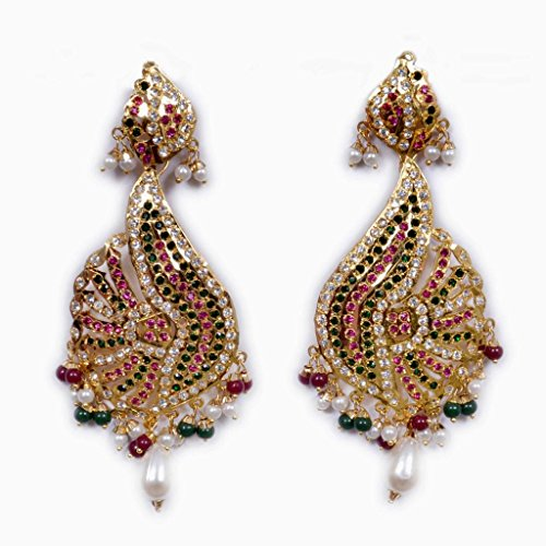 Adobe Couture Golden jadau earrings for women (yellow)