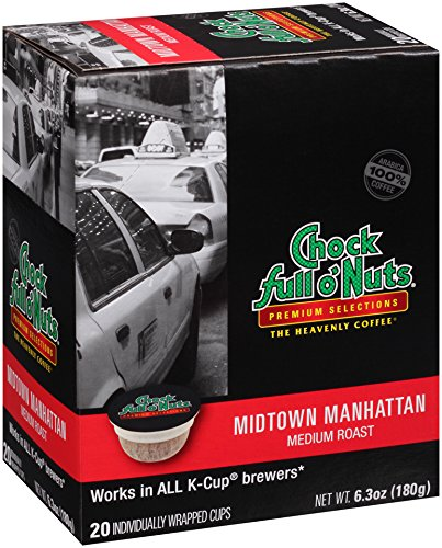 Chock full o'Nuts Coffee Medium Roast Single Serve Cups, Midtown Manhattan, 20 Count (Chock Full O Nuts Coffee Cup compare prices)