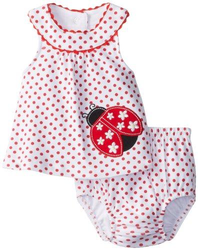 Cutie Pie Baby-Girls Newborn 2 Piece Bubble Dress With Bloomer-Ladybug, Red/White, 3-6 Months