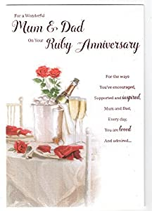 For A Special Mum & Dad On Your Ruby 40th Wedding Anniversary Card icg ...