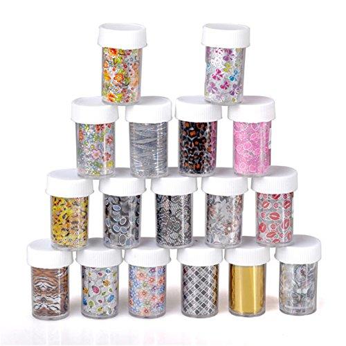 Ayliss® 12x Nail Art Foil Wrap Feuille de transfert Glitter Sticker Decal polonais Décoration Tips