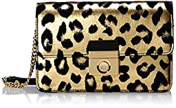 MILLY Gold Leopard Mini Cross Body, Gold, One Size
