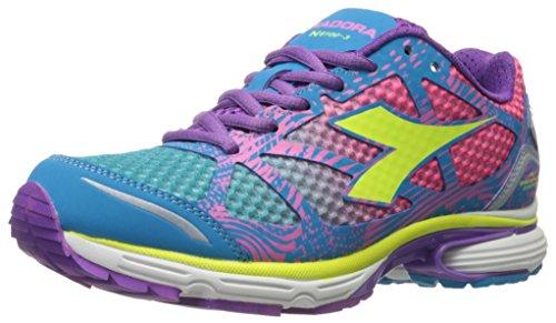 Diadora Women's N-6100-3 W Running Shoe, Blue Fluorescent/Pink Fluorescent, 6 M US