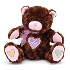 """Be Mine"" Brown Plush 10"" Valentine Teddy Bear with Hearts"