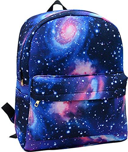 Unisex Girl Boys Retro Travel Backpack Canvas Leisure Bags School bag Rucksack (Star blue)