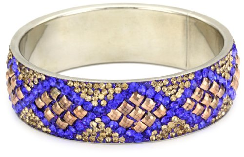 Chamak by priya kakkar Bangle Of Rose-Gold Grommets, Blue and Gold Crystal