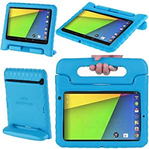 i-Blason ArmorBox Kido Series for Google New Nexus 7 2 FHD (2nd Generation) Light Weight Super Protection Convertable Stand Cover Case for Kids (Blue)
