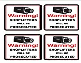 """#1104 (4) VIDEO & SHOPLIFTERS WILL BE PROSECUTED 4"""" X 4"""" DECALS"""