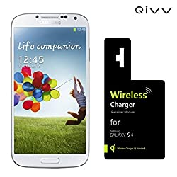 QIVV 0.5mm Ultra Thin High Efficiency Qi Wireless Charger Charging Receiver Module for Samsung Galaxy S4 I9500 | Easy Installation | Light Weight -All in Black in Retail Gift Box