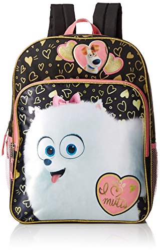The Secret Life of Pets Big Girls Universal Gidget Multi Compartment 16 Inch Backpack, Black, One Size