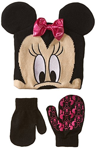Disney Little Girls' Minnie Mouse Hat and Glove Set, Black, One Size