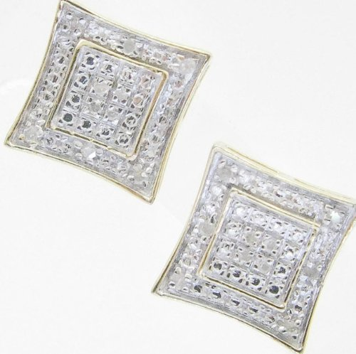 Mens 925 Sterling Silver earrings fancy stud hoops huggie ball fashion dangle white small square curved pave earrings2