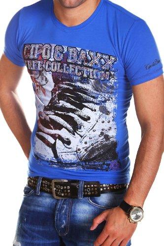 Cipo & Baxx T-Shirt SNEAK mit Nieten C-5310 [Blau, L]