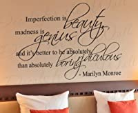 Imperfection is Beauty Madness Marilyn Monroe - Inspirational Motivational Inspiring Women - Wall Decal Saying, Vinyl Lettering, Decoration Quote Design, Sticker Graphic Art Decor from Decals for the Wall