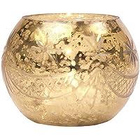Luna Bazaar Vintage Mercury Glass Candle Holder (3 Inch, Globe Design, Gold) For Use With Tea Lights For Home...