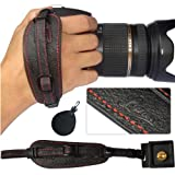 First2savvv Lynda Professional Wrist Grip black genuine leather hand Strap for Nikon D3200 with UV lens filter protection bag case