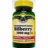 Spring Valley Softgels Bilberry, 60 Softgels/1000 mg