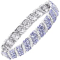 Finecraft 16 ct Tanzanite & White Topaz Link Bracelet (Sterling Silver)