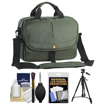 Vanguard 2GO 30 Digital SLR Camera Messenger Bag (Green) with Tripod + Cleaning Kit