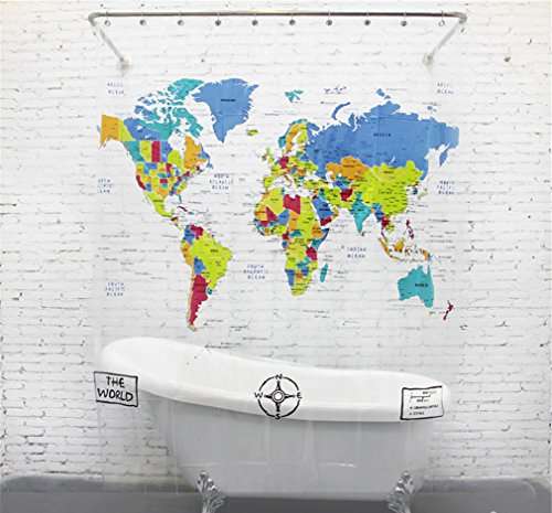 Maps shower curtains shower curtains outlet lee hans mildew free eva shower curtain world map 72inch by 78inch gumiabroncs Images