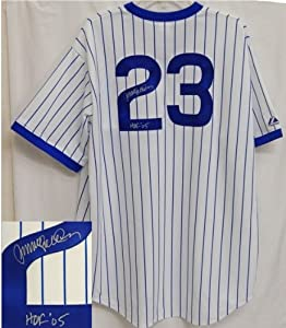 Ryne Sandberg Autographed Hand Signed Cubs T B White Cooperstown Collection Jersey w... by Hall of Fame Memorabilia