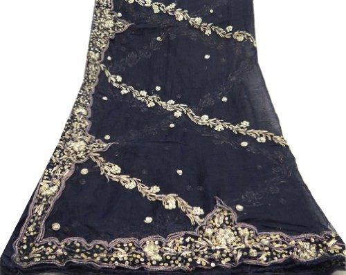 donne avvolgere la testa annata tessuto lunga sciarpa indiana Dupatta rubato artigianali in tessuto nero decorazioni per la casa ricamata sciarpe velo misto chiffon