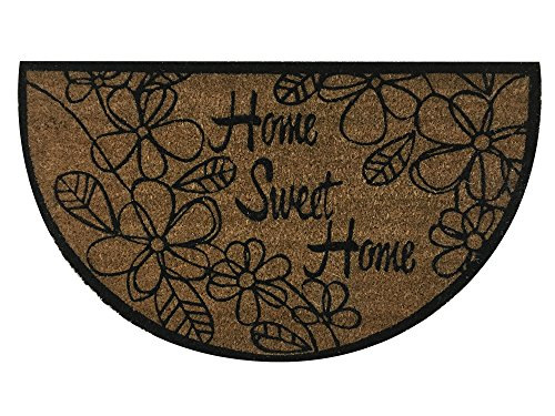 """Half Moon """"Home Sweet Home"""" Doormat by Castle Mats, Size 17 x 29 inches, Non-Slip, Durable, Made Using Odor-Free Natural Fibers"""