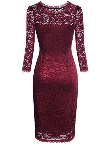 Sheath Dress,Bebonnie Women Lace With Sleeves Scoop Neck Burgundy Red 1950s Vintage Style Holiday Party Dress Wine XL