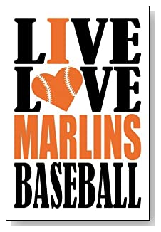 Live Love I Heart Marlins Baseball lined journal - any occasion gift idea for Miami Marlins fans from WriteDrawDesign.com