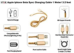 SToK Faux Leather Apple Iphone Data Sync/ Charging USB Cable cord 1 Meter/ 3.2 Feet for Iphone 5, 5s, 6 , 6 Plus,iPods & Tablets - Golden Brown