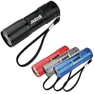 Jazooli Super Bright 9 LED Mini Torch Flashlight Light - Black