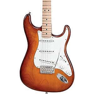 Fender USA Nitro Satin Series Stratocaster Electric Guitar Honeyburst Maple Fingerboard