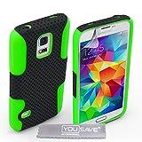 Yousave Accessories Tough Mesh Combo Silicone Cover Case for Samsung Galaxy S5 Mini - Green/Black