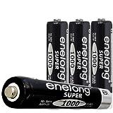 ★ブラック★エネロングスーパー単4形電池×4本セット[簡易ビニールエコパッケージ]約1000回繰り返し使える単4形乾電池。エネループを超える容量1000mAh!