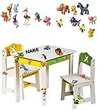 """3 tlg. Set: Sitzgruppe für Kinder - aus sehr stabilen Holz - weiß - """" lustige Zootiere """" - incl. Name - Tisch"""