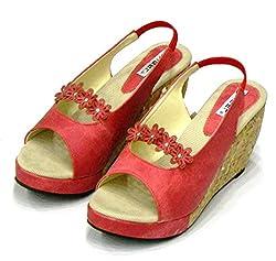 Mughal Girls Red Denim Wedges - 4 UK